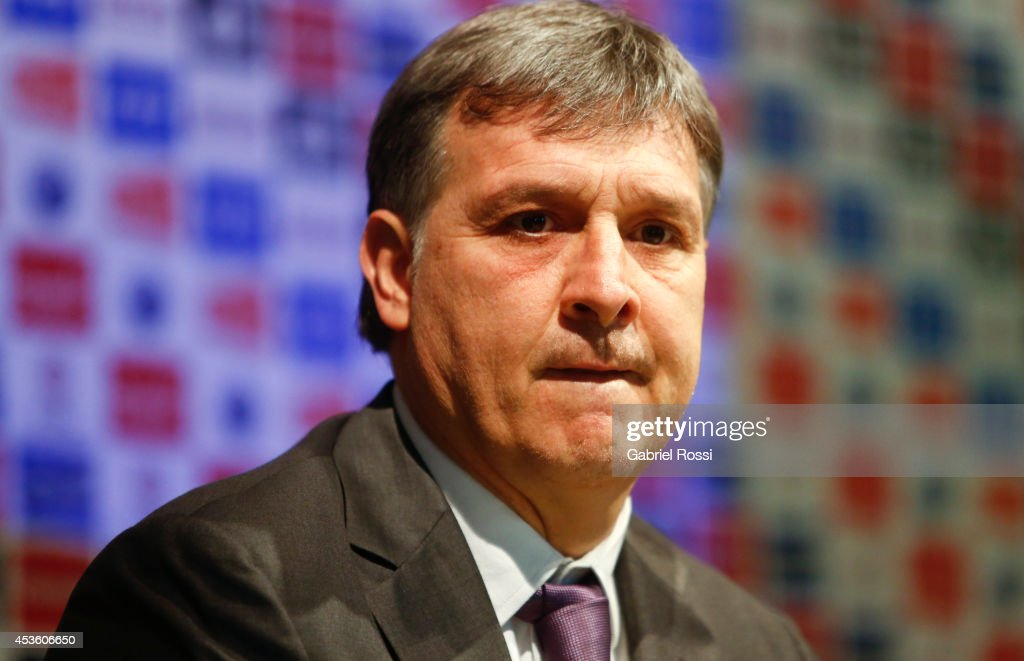 <a gi-track='captionPersonalityLinkClicked' href=/galleries/search?phrase=Gerardo+Martino&family=editorial&specificpeople=4362047 ng-click='$event.stopPropagation()'>Gerardo Martino</a> coach of Argentina attends his presentation as new Argentina coach at Predio Habitacional de la AFA on August 14, 2014 in Buenos Aires, Argentina. <a gi-track='captionPersonalityLinkClicked' href=/galleries/search?phrase=Gerardo+Martino&family=editorial&specificpeople=4362047 ng-click='$event.stopPropagation()'>Gerardo Martino</a> replaces Alejadro Sabella after his second place in Brazil 2014 FIFA World Cup.