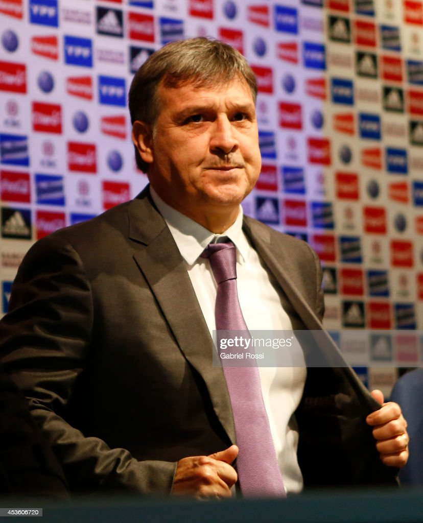 Gerardo Martino coach of Argentina attends his presentation as new Argentina coach at Predio Habitacional de la AFA on August 14, 2014 in Buenos Aires, Argentina. Gerardo Martino replaces Alejadro Sabella after his second place in Brazil 2014 FIFA World Cup.