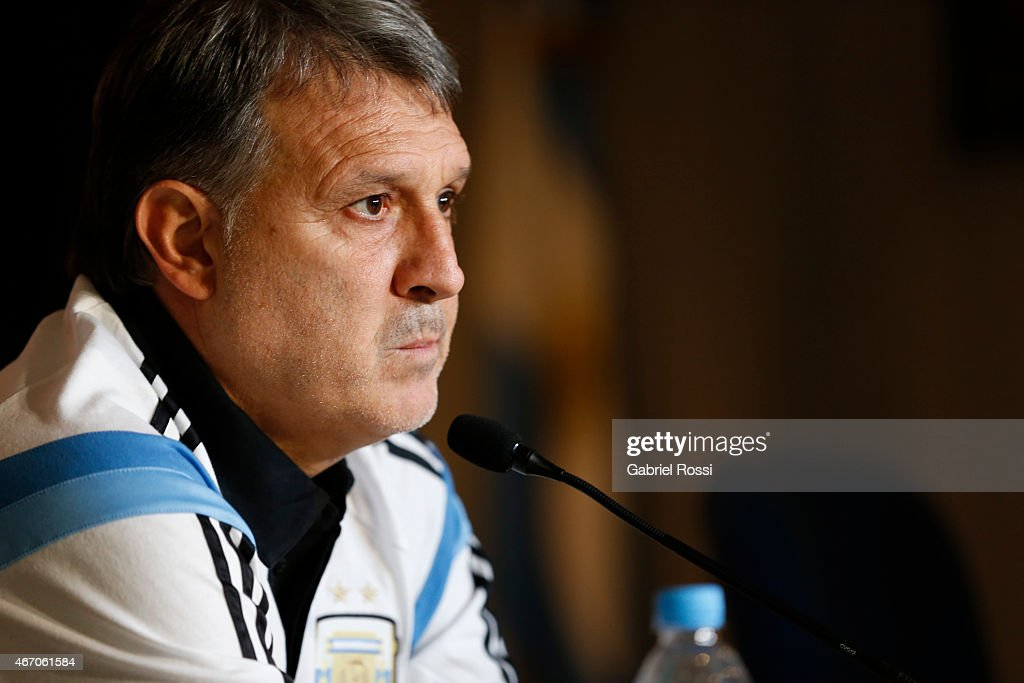 <a gi-track='captionPersonalityLinkClicked' href=/galleries/search?phrase=Gerardo+Martino&family=editorial&specificpeople=4362047 ng-click='$event.stopPropagation()'>Gerardo Martino</a>, coach of Argentina, talks during a press conference at campus of the Argentine Soccer Association 'Julio Humberto Grondona' on March 20, 2015 in Ezeiza, Buenos Aires, Argentina. Preparing for Copa America 2015 in Chile, Argentina will face two friendly matches in the