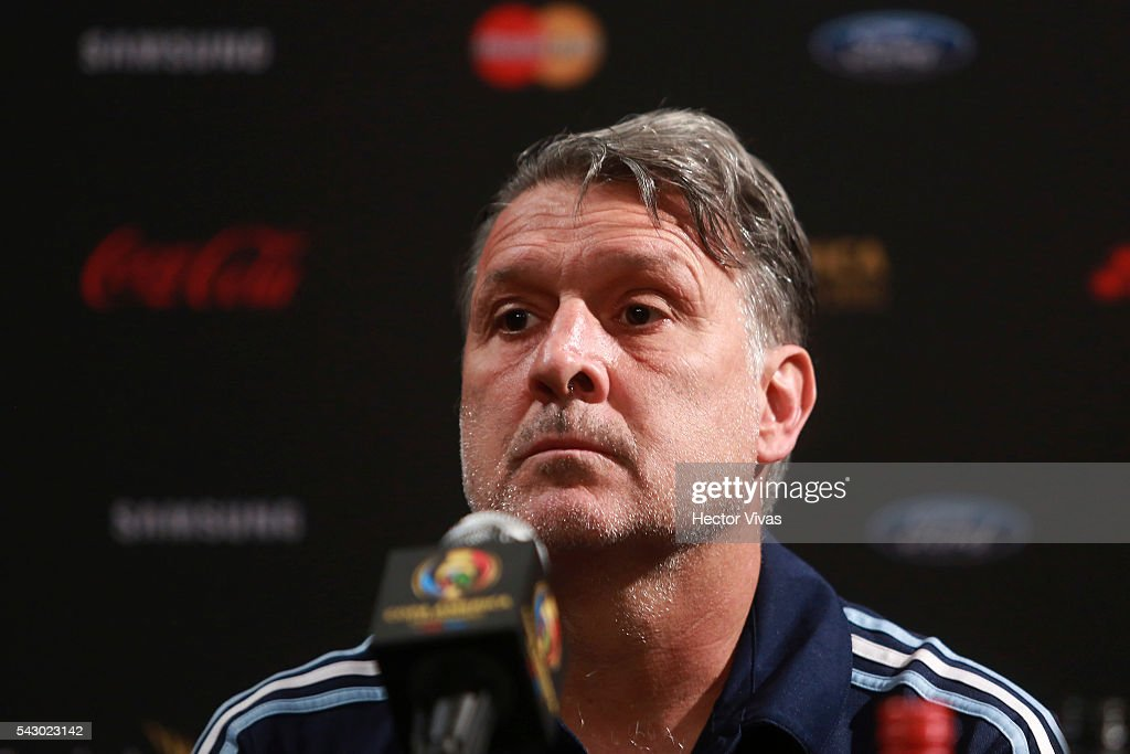 <a gi-track='captionPersonalityLinkClicked' href=/galleries/search?phrase=Gerardo+Martino&family=editorial&specificpeople=4362047 ng-click='$event.stopPropagation()'>Gerardo Martino</a> head coach of Argentina attends Argentina press conference at Metlife Stadium on June 25, 2016 in East Rutherford, New Jersey, United States.