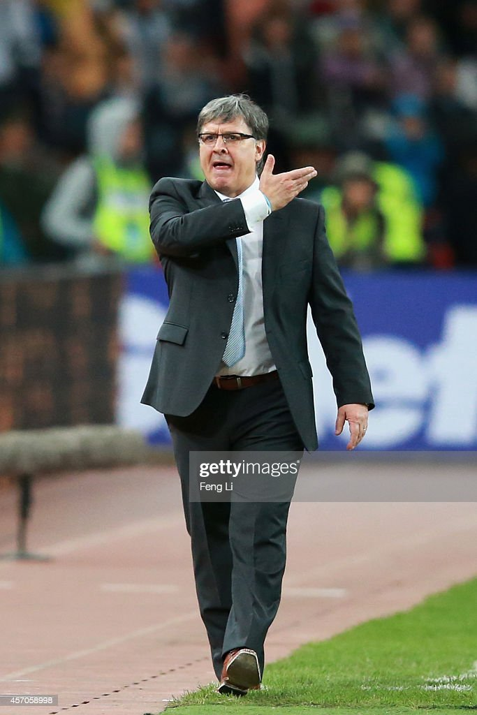 Gerardo Martino, head coach of Argentina reacts during Super Clasico de las Americas between Argentina and Brazil at Beijing National Stadium on October 11, 2014 in Beijing, China.