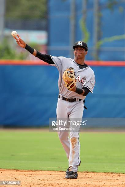 Gerardo Nunez of the Marlins throws the ball over to first base during the Gulf Coast League game between the Marlins and the Mets on July 21 at the...