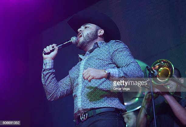 Gerardo Ortiz performs during a show at The OK Corral on January 24 2016 in Dallas TX United States