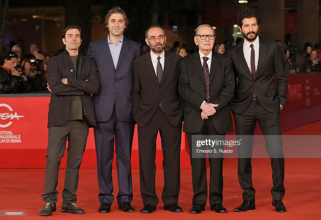 Gerardo Panich, <a gi-track='captionPersonalityLinkClicked' href=/galleries/search?phrase=Giuseppe+Tornatore&family=editorial&specificpeople=2761023 ng-click='$event.stopPropagation()'>Giuseppe Tornatore</a>, <a gi-track='captionPersonalityLinkClicked' href=/galleries/search?phrase=Ennio+Morricone&family=editorial&specificpeople=677347 ng-click='$event.stopPropagation()'>Ennio Morricone</a> and <a gi-track='captionPersonalityLinkClicked' href=/galleries/search?phrase=Francesco+Scianna&family=editorial&specificpeople=5938824 ng-click='$event.stopPropagation()'>Francesco Scianna</a> attend the '<a gi-track='captionPersonalityLinkClicked' href=/galleries/search?phrase=Giuseppe+Tornatore&family=editorial&specificpeople=2761023 ng-click='$event.stopPropagation()'>Giuseppe Tornatore</a>: Ogni Film Un'Opera Prima' Premiere during the 7th Rome Film Festival at Auditorium Parco Della Musica on November 17, 2012 in Rome, Italy.