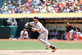 Gerardo Parra of the Baltimore Orioles bunts during the game against the Oakland Athletics at Oco Coliseum on August 5 2015 in Oakland California The...