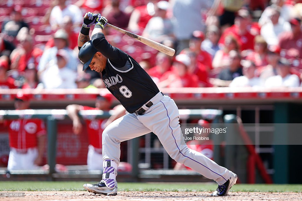 Gerardo Parra #8 of the Colorado Rockies reacts after flying out to end the sixth inning of the game against the Cincinnati Reds at Great American Ball Park on April 20, 2016 in Cincinnati, Ohio. The Reds defeated the Rockies 6-5.