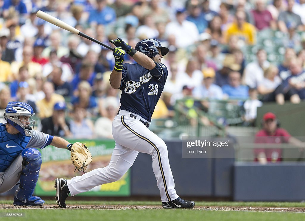 Gerardo Parra #28 of the Milwaukee Brewers connects for a double off of R. A. Dickey #43 of the Toronto Blue Jays at Miller Park on August 20, 2014 in Milwaukee, Wisconsin.