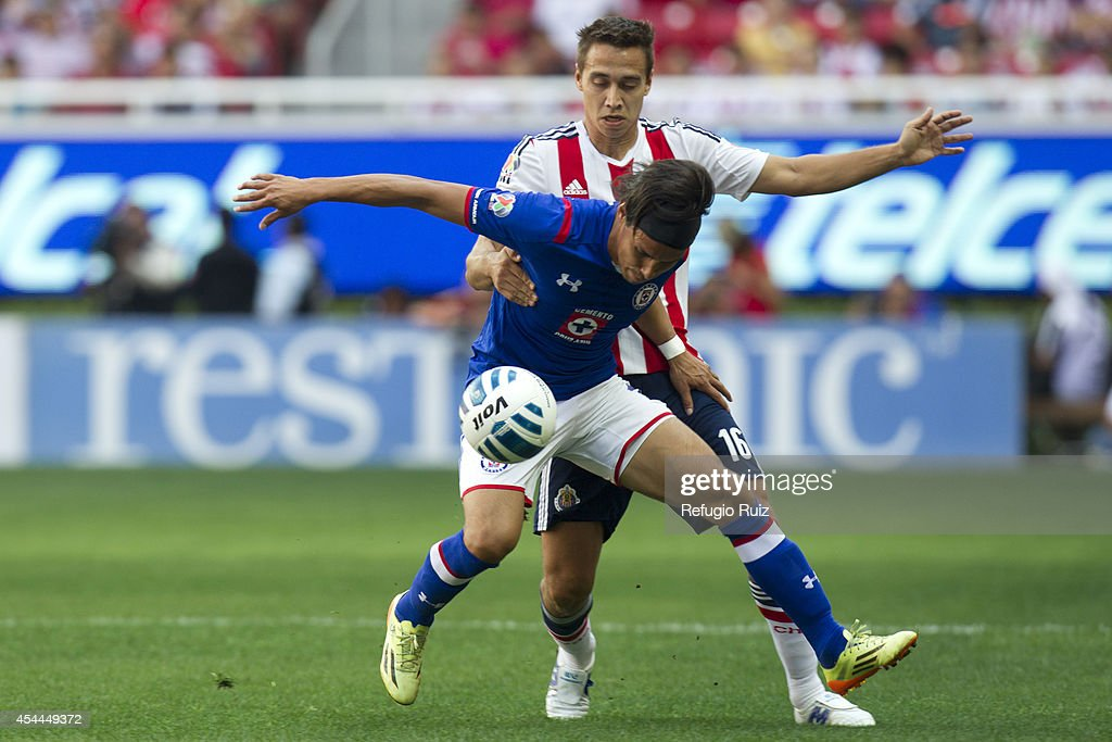 Gerardo Rodriguez of Chivas (B) fights for the ball with Gerardo Flores of Cruz Azul (F) during a match between Chivas and Cruz Azul a as part of Apertura 2014 Liga MX at Omnilife Stadium on August 31, 2014 in Guadalajara, Mexico.