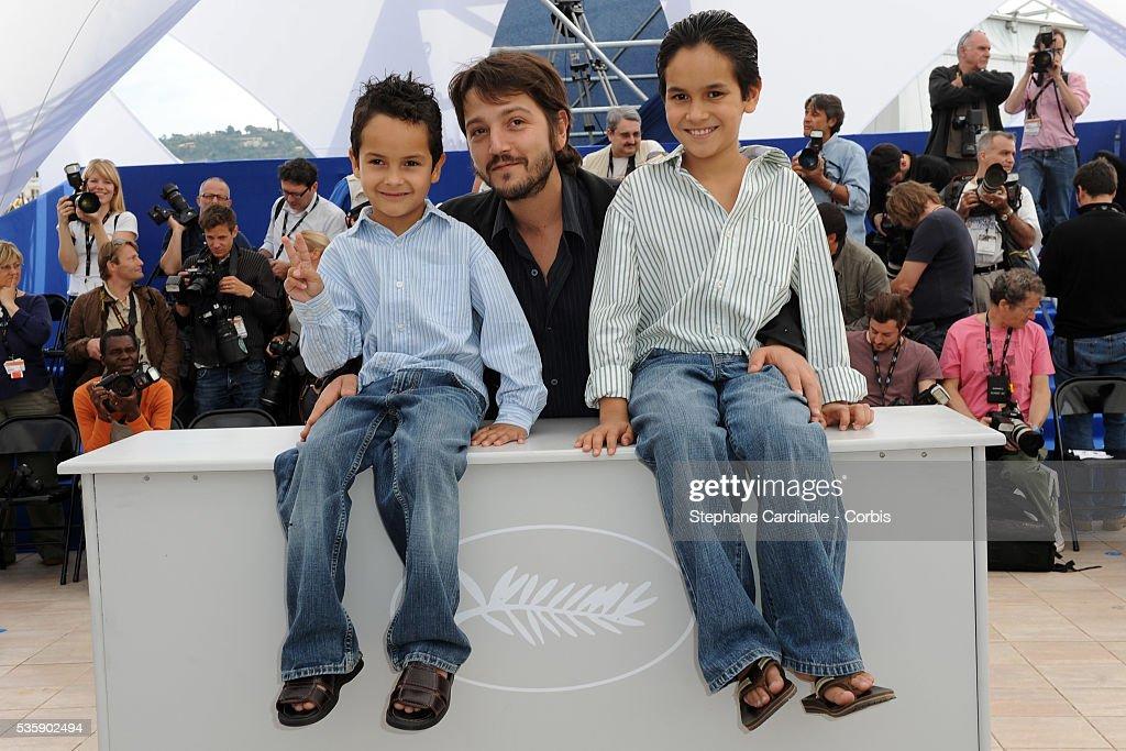 Gerardo Ruiz Esparza, Diego Luna and Christopher Ruiz Esparza at the photocall for 'Abel' during the 63rd Cannes International Film Festival.