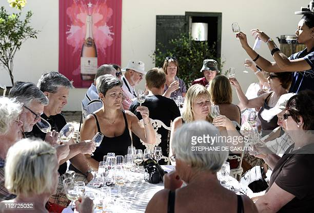 Africa wineries tap tourism as marketing schemeVisitors attend an onsite tasting on March 19 2011 at a vineyard in Franschoek First planted by...