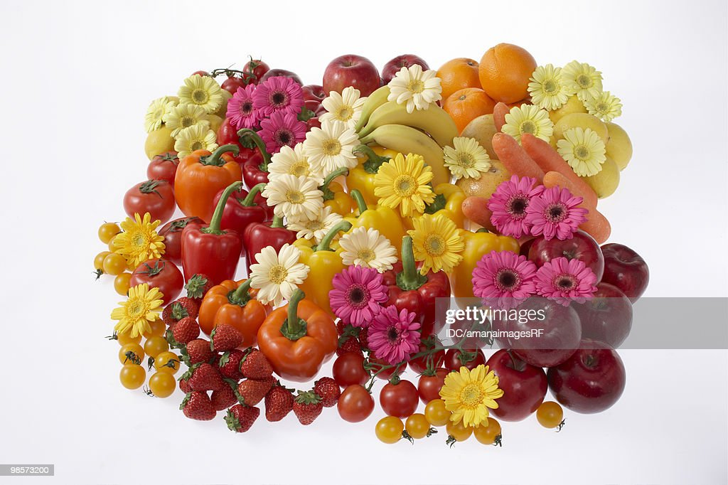 Gerbera Daises with fruits and vegetables