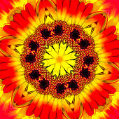 Abstract rendition of a close up of a gerbera daisy flower.