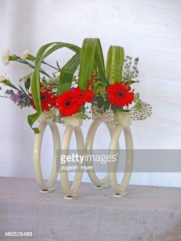 Gerbera flowers, Gerbera jamesonii, flower arrangement : Stock Photo