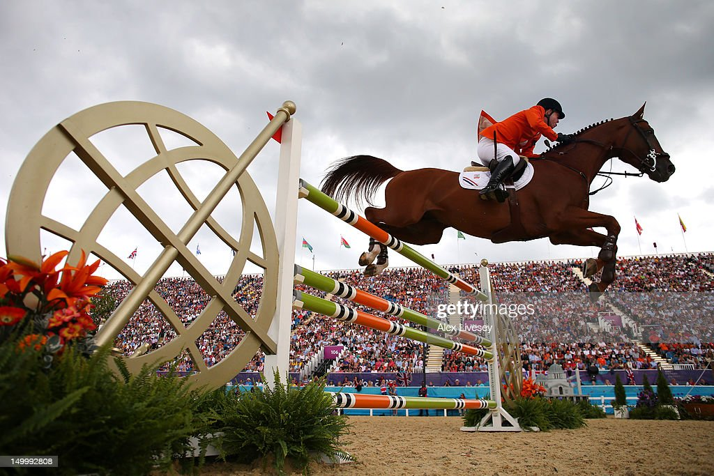 Gerco Schroder of Holland wins Silver riding London in the Individual Jumping on Day 12 of the London 2012 Olympic Games at Greenwich Park on August 8, 2012 in London, England.