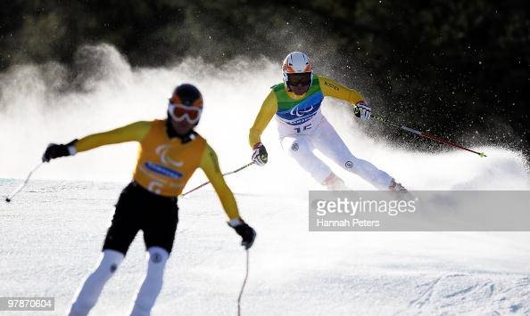 Gerd Gradwohl of Germany competes in the Men's Visually Impaired SuperG during Day 8 of the 2010 Vancouver Winter Paralympics at Whistler Creekside...