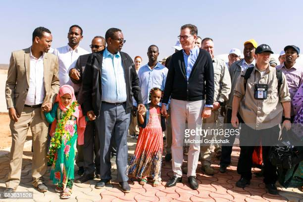 Gerd Mueller CSU Federal Development Minister visits Ethiopia and is welcomed at the airport by residents on April 03 2017 in Kebri Dahar Ethiopia