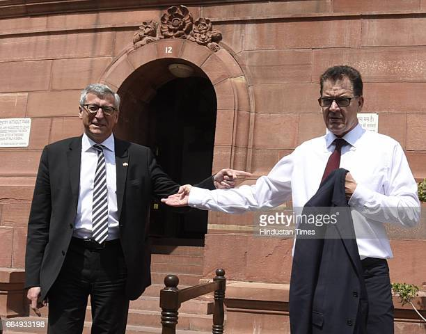 Gerd Muller German Minister for Economic Cooperation and Development with other member leaves Parliament after meeting with Arun Jaitley Union...