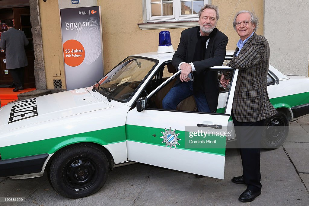 Gerd Silberbauer and Wilfried Klaus attend the 35 years anniversary of the tv show 'Soko 5113' on January 30, 2013 in Munich, Germany.