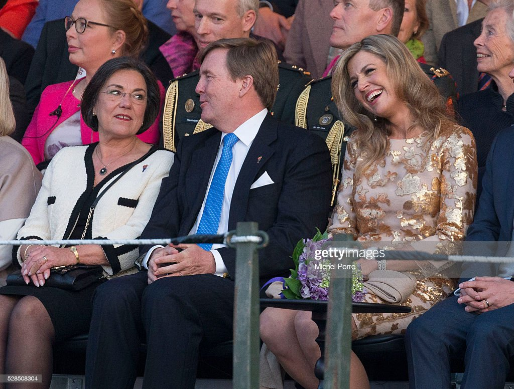 Gerdi Verbeet, King Willem-Alexander and Queen Maxima of The Netherlands attend the Liberation Day Concert on May 5, 2016 in Amsterdam, Netherlands. Liberation Day (Dutch: Bevrijdingsdag) is celebrated each year on May the 5th to mark the end of the occupation by Nazi Germany during World War II.