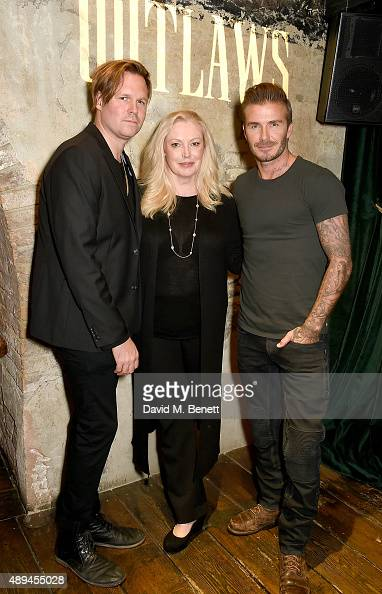 Geremy Jasper Cathy Moriarty and David Beckham attend the premiere for Belstaff FilmsÕ Outlaws' during London Fashion Week at La Bodega Negra on...