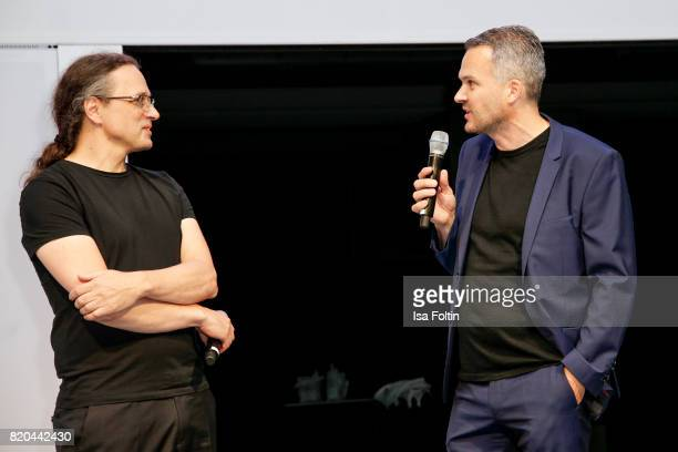 Gerfried Stocker and Frank Clobes live on stage during the 'Ars Electronica' Group Exhibition and 'Dritte Landschaft/Third Landscape' Photo...