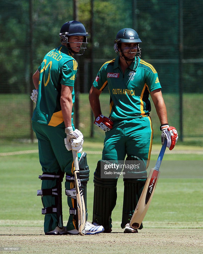 Gerg Oldfield and David Bedingham of South Africa during the 2nd U/19 Youth One Day International match between South Africa and England at Bellville Cricket Club on February 15, 2013 in Cape Town, South Africa.