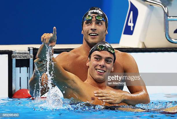 Gergorio Paltrinieri celebrates winning the 1500m Freestyle with fellow country man Gabriele Detti on Day 8 of the Rio 2016 Olympic Games at the...