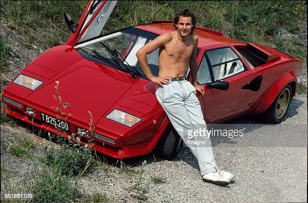 Gerhard Berger and his Lamborghini Countach Photograph by Didi Sattmann 1986