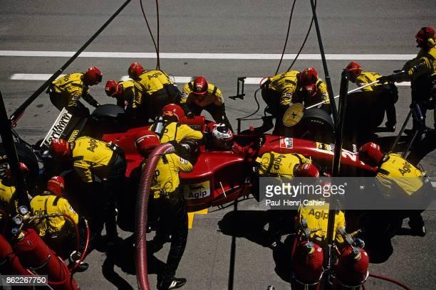 Gerhard Berger Ferrari 412T2 Grand Prix of Spain Circuit de BarcelonaCatalunya 14 May 1995 Gerhard Berger makes a pit stop with his Ferrari 412T2
