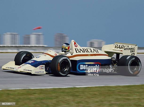 Gerhard Berger of Austria drives the Barclays Arrows BMW Arrows A8 BMW L4T turbo during practice for the Brazilian Grand Prix on 6 April 1985 at the...