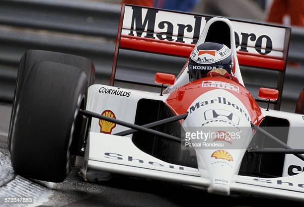 Gerhard Berger of Austria drives the Honda Marlboro McLaren McLaren MP4/6 Honda RA121E V12 during practice for the Grand Prix of Monaco on 11 May...