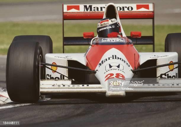Gerhard Berger of Austria drives the Honda Marlboro McLaren MP4/5B Honda RA109E 35 V10 during the San Marino Grand Prix on 13th May 1990 at the...