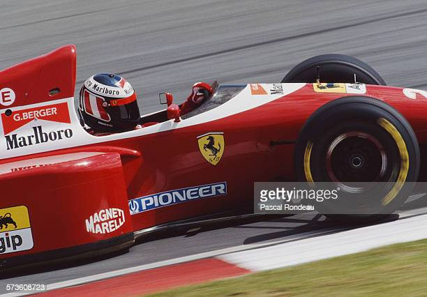 Gerhard Berger of Austria drives the Scuderia Ferrari Ferrari F93A Ferrari 041 V12 during practice for the Yellow Pages South African Grand Prix on...