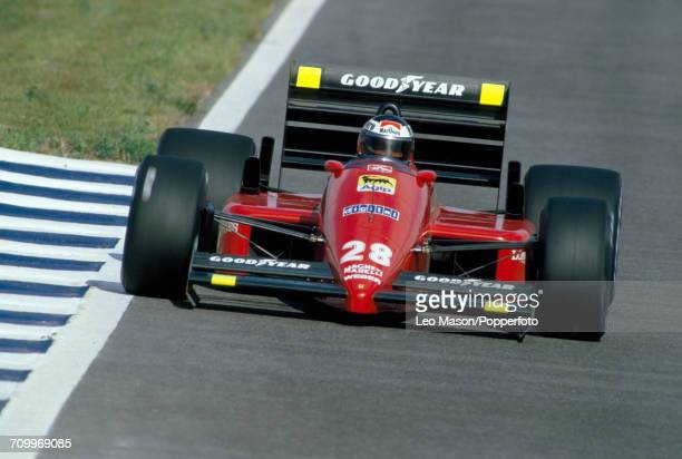 Gerhard Berger of Austria driving a Ferrari F1/87 with a Ferrari 033D 15 V6t engine for Scuderia Ferrari SpA SEFAC in action during the Spanish Grand...