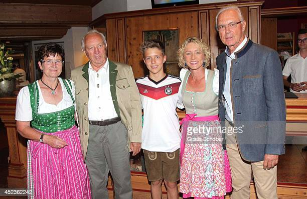 Gerhard Burmester and Margret Burmester Joel Maximilian Beckenbauer Heidi Beckenbauer and husband Franz Beckenbauer attend the get together at...