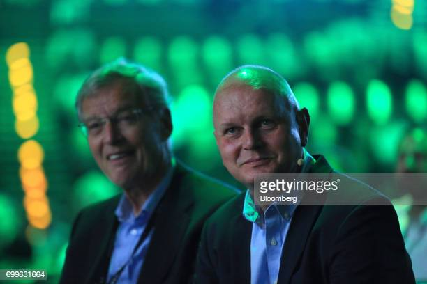 Gerhard Cromme chairman of Siemens AG left and Olaf Koch chief executive officer of Metro AG look on during the Noah technology conference in Berlin...