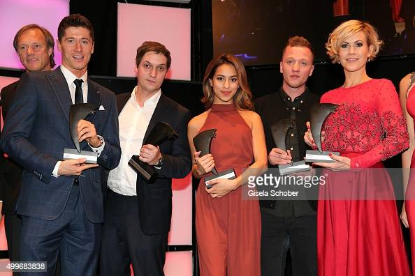 Gerhard Delling Robert Lewandowski Florian Mundt Gizem Emre with award Joris Buchholz Wolke Hegenbarth during the Audi Generation Award 2015 at Hotel...