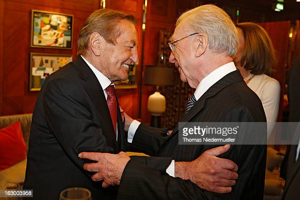 Gerhard MayerVorfelder and Lothar Spaeth are seen during the celebration of the 80th birthday of Gerhard MayerVorfelder at the Schlossgartenhotel on...