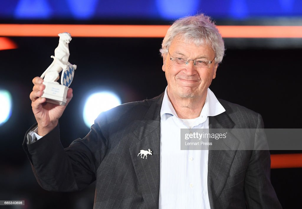 Gerhard Polt, winner of the Honorary Award, speaks during the Bayerischer Fernsehpreis 2017 show at Prinzregententheater on May 19, 2017 in Munich, Germany.