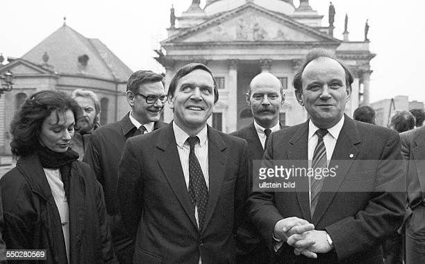 Gerhard Schröder on a visit to the GDR with wife Hiltrud in East Berlin from left H Schröder G Schröder East Berlin mayor Erhard Krack in the...