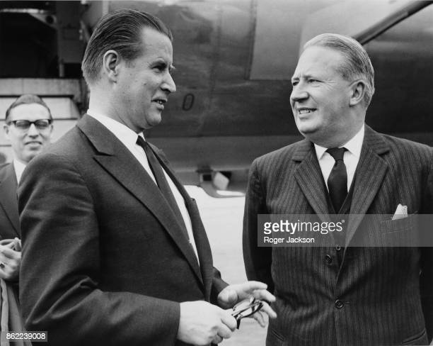 Gerhard Schroder the West German Foreign Minister is greeted by Edward Heath the Lord Privy Seal upon his arrival at Northolt Airport from Bonn 14th...
