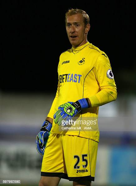 Gerhard Tremmel of Swansea City during the Checkatradecom Trophy match between AFC Wimbledon and Swansea City at The Cherry Red Records Stadium on...