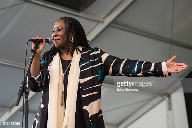 Geri Allen of the Errol Garner Jazz Project performs at Fair Grounds Race Course on April 22 2016 in New Orleans Louisiana