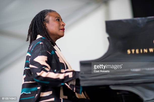 Geri Allen of the Erroll Garner Jazz Project performs at the New Orleans Jazz and Heritage Festival at the New Orleans Fair Grounds Race Course in...