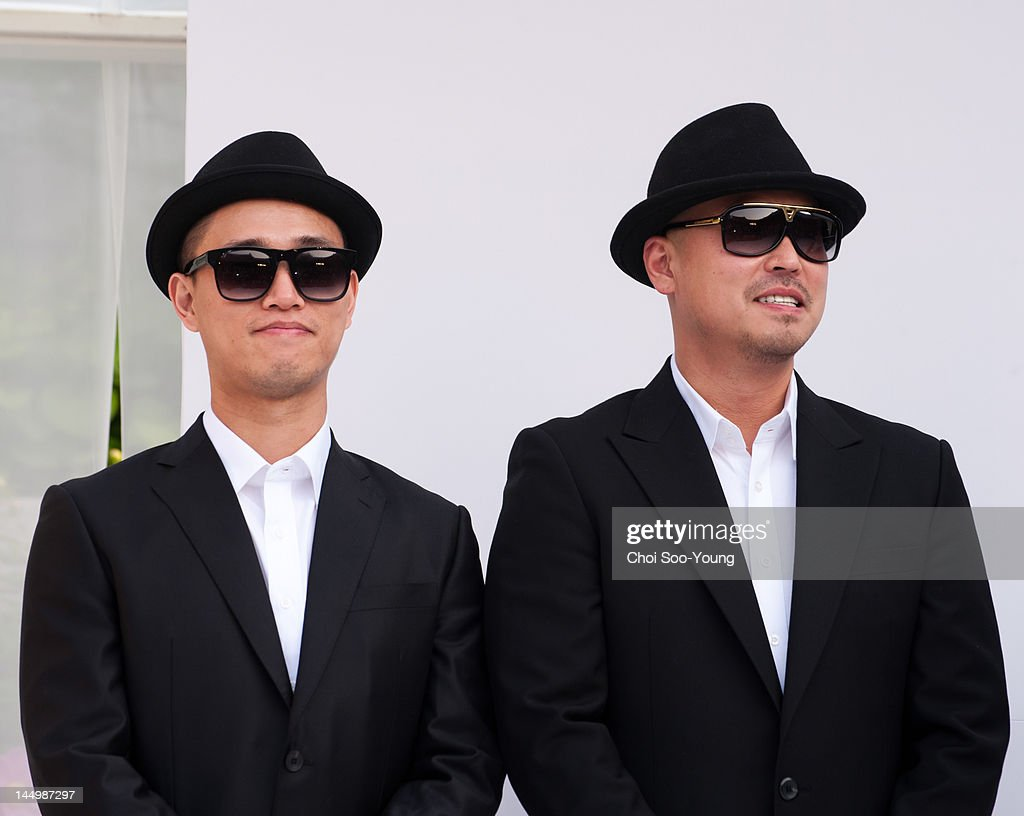 Geri and Gil of Leessang attend the Jung Jun-Ha Wedding at Shilla hotel on May 20, 2012 in Seoul, South Korea.