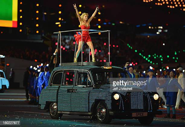 Geri Haliwell of the Spice Girls performs during the Closing Ceremony on Day 16 of the London 2012 Olympic Games at Olympic Stadium on August 12 2012...