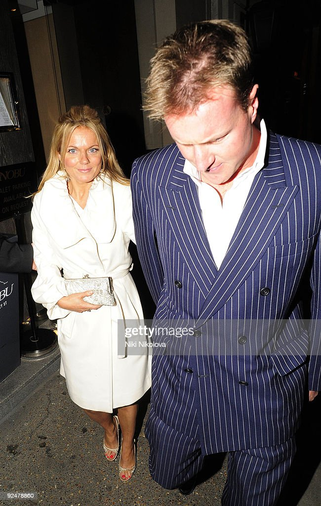 Geri Halliwell and guest leaving the nobu restaurant on October 28, 2009 in London, England.