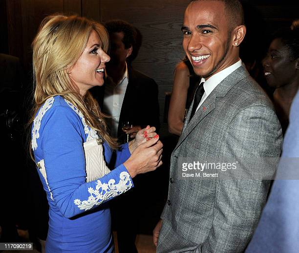 Geri Halliwell and Lewis Hamilton attend the opening of McLaren London's first UK showroom at One Hyde Park on June 21 2011 in London England