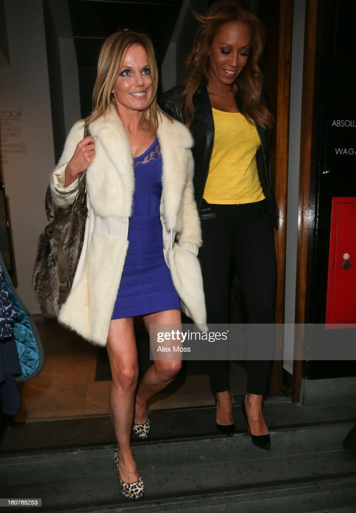 Geri Halliwell (L) and <a gi-track='captionPersonalityLinkClicked' href=/galleries/search?phrase=Melanie+Brown&family=editorial&specificpeople=159736 ng-click='$event.stopPropagation()'>Melanie Brown</a> are seen leaving the Viva Forever afternoon tea launch at Harvey Nichols on February 5, 2013 in London, England.