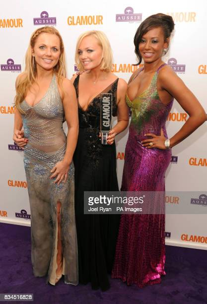 Geri Halliwell Emma Bunton and Mel B from the Spice Girls at the Glamour Women of the Year Awards after party in Berkeley Square Gardens central...